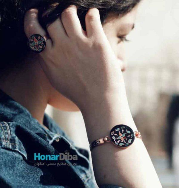 ست دستبند و انگشتر مسی فرز کاری شده طرح مختلف