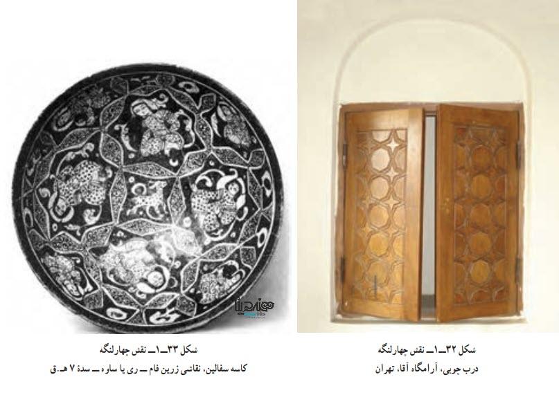 نقش چهارلنگه درب چوبی، آرامگاه آقا، تهران